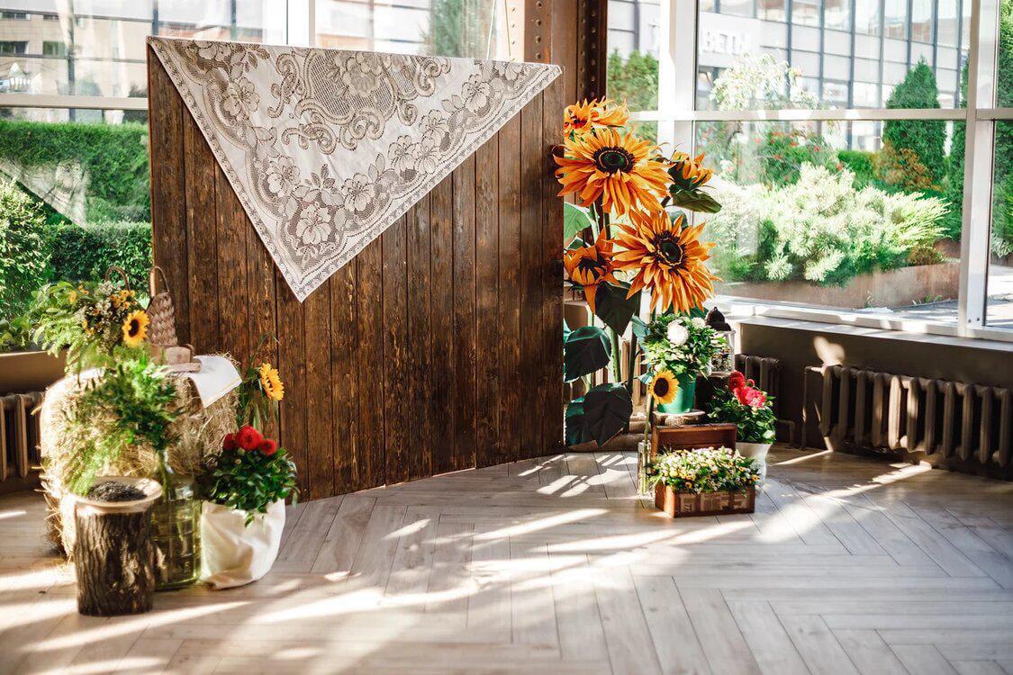 Композиция Ростовые подсолнухи из фоамирана для свадьбы общий план