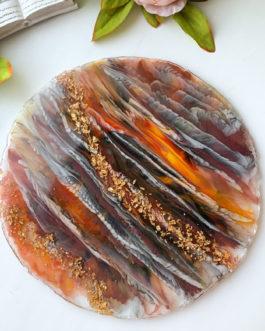 Блюдо (плато) из смолы для сервировки «Янтарь»